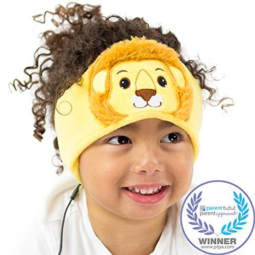 CozyPhones Kids Headphones Volume Limited with Ultra-Thin Speakers & Super Soft Fleece Headband - Perfect Toddlers & Childrens Earphones for Home, School & Travel - Lion