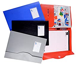 Max A4 Conference Document Folder File With Notepad 1 Pen & Velcro-Choose Color