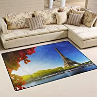 DEYYA Custom Print Non-slip Area Rugs Pad Cover 60 x 39 Inch, Paris Eiffel Tower Pattern Throw Rugs Carpet Modern Carpet for Home Dining Room Playroom Living Room Decoration