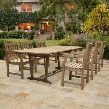 Vifah V1294SET1 Renaissance Rectangular Extension Table & Armchair Outdoor Hand-scraped Hardwood Dining Set of 7