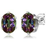 Sterling Silver Mystic Topaz Gemstone Birthstone Green Stud Earrings (2.90 cttw, Oval 8X6MM)