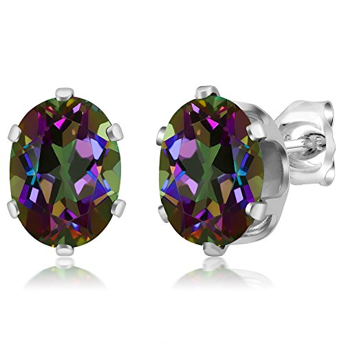 Sterling Silver Mystic Topaz Gemstone Birthstone Green Stud Earrings (2.90 cttw, Oval -