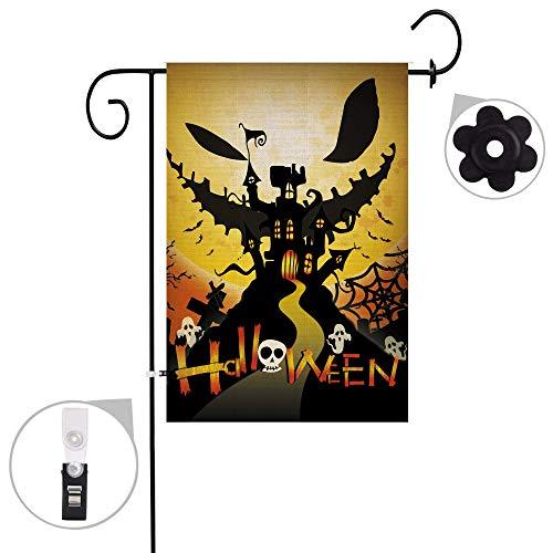 Hexagram Halloween Garden Flag Burlap Double Sided Decorative Jack o Lantern Pumpkin Yard Flag 12x18 inch Prime -