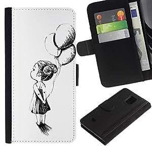 iKiki Tech / Cartera Funda Carcasa - Girl Balloon White Pen White Black - Samsung Galaxy S5 Mini, SM-G800, NOT S5 REGULAR!