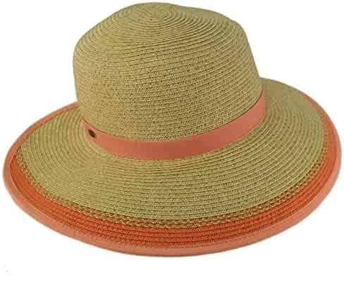 102bfccce9cc3 C.C Backless Brim Floppy Visor 3-3 4 Wide Summer Beach Pool Sun Hat
