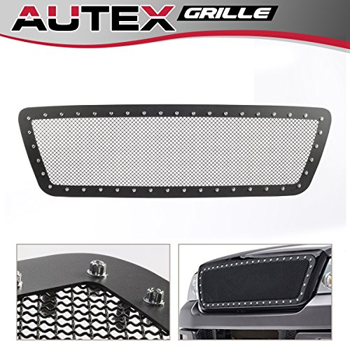AUTEX Rivet Black Stainless Steel Upper Mesh Grille Insert FL5815H Compatible with Ford F-150 2004 2005 2006 2007 2008 - Billet Grill Chrome Mesh Grille