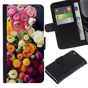 Paccase / Billetera de Cuero Caso del tirón Titular de la tarjeta Carcasa Funda para - Roses Bouquet Pink Yellow - Apple Iphone 4 / 4S