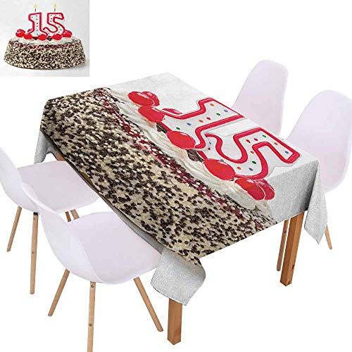 (UHOO2018 15th Birthday,Durable Tablecloth,Chocolate Cherry Tasty Cake with Number Candles Surpise Party Theme Image,Stain Resistant, Wrinkle Resistant,Multicolor,55