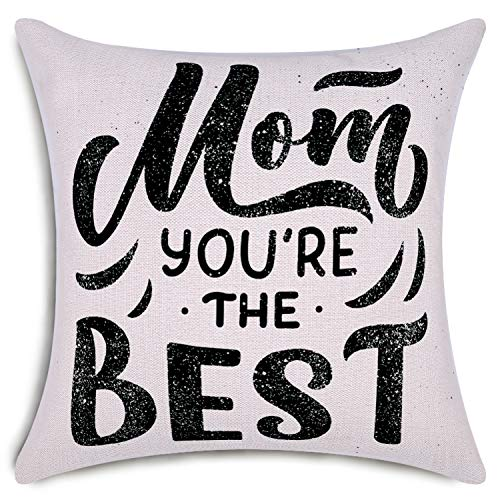 smiry Mother's Day Throw Pillow Covers You are The Best Mom Decorative Cushion Cover Cotton Linen Pillowcase Home Decor 18x18 Inch