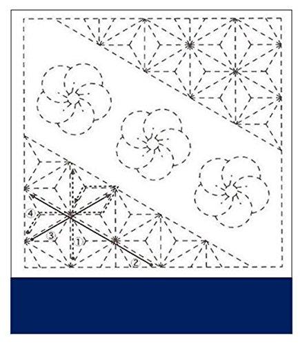 Sashiko Fabric - Pre-printed Sashiko Sampler - Nijiri-ume (Plum Blossom) & Asanoho # 282 - NAVY - Olympus Plum