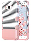 samsung phone cases for girls - Galaxy J7 Case, ULAK Anti Slip Galaxy J7 Case for Girls Dust Scratch Shock Resistance Protective Cover for Samsung Galaxy J7 J700 (2015) Hybrid High Soft Silicone + Hard PC Case (Rose Gold Stripes)