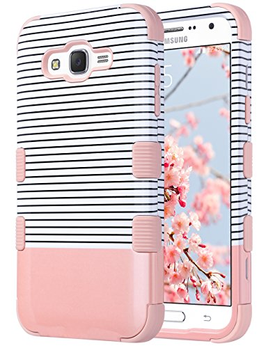 ULAK Galaxy J7 Case, Anti Slip Galaxy J7 Case for Girls Dust Scratch Shock Resistance Protective Cover for Samsung Galaxy J7 J700 (2015) Hybrid High Soft Silicone + Hard PC Case (Rose Gold Stripes)