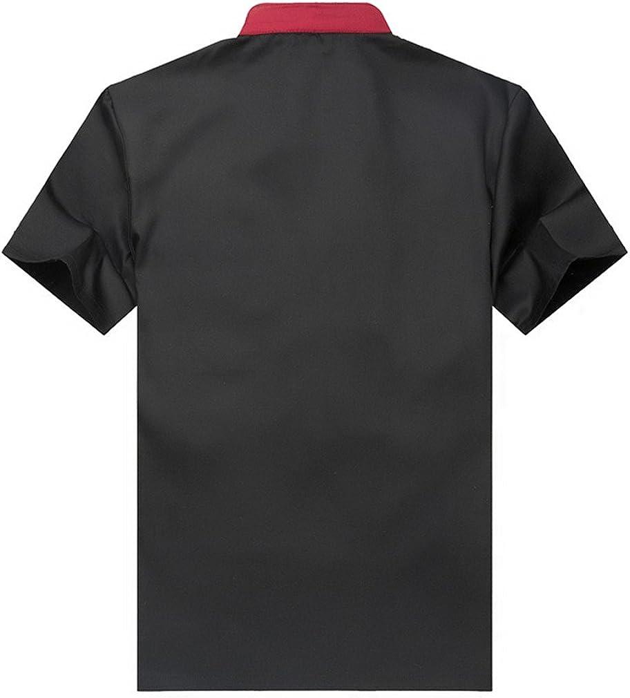 XXL Black Fashion Chef Jackets Waiter Coat Short Sleeves Size US Label:4XL