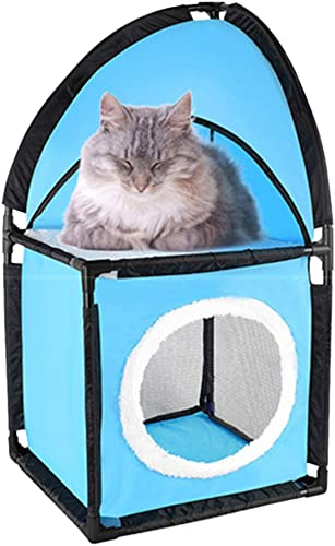 Portable Cat Condo – Two Tier Corner Cat House – Kitty Furniture With Plush Hammock Bed – Breathable Soft Material For Jumping Climbing Play Sleeping – Great For Travel – Kitten Approved