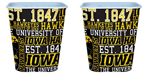 NCAA Iowa Hawkeyes 3 Liter Reusable Plastic Snack Bucket 2 Pack ()