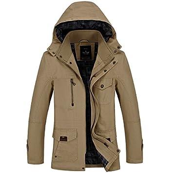 A medio tiempo Windbreaker chaqueta de los hombres, el otoño y el invierno puro algodon casual hombres con capucha de pelo,Khaki,M: Amazon.es: Deportes y ...