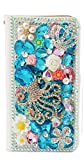 STENES Galaxy Note 9 Case - Stylish - 3D Handmade Bling Crystal Gemstone Octopus Crown Magnetic Wallet Credit Card Slots Fold Stand Leather Cover for Samsung Galaxy Note 9 - Light Blue