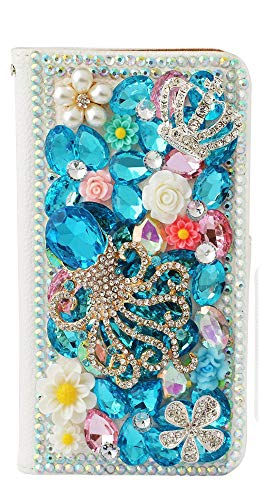 STENES Google Pixel 3 Case - Stylish - 3D Handmade Bling Crystal Gemstone Octopus Crown Magnetic Wallet Credit Card Slots Fold Stand Leather Cover for Google Pixel 3 - Light Blue