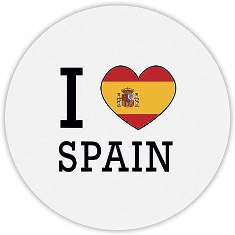 Alfombra de ratón Redondo I Love Bandera España: Amazon.es: Informática