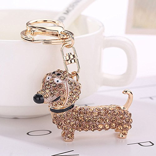 Rurah Creative Dog Keychain Purse Pendant Car Holder Key Ring Jewelry Keychain Gifts,champagne