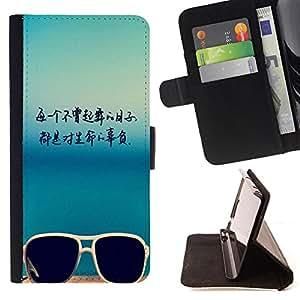 King Case - FOR Sony Xperia Z1 L39 - Don't let life - Prima caja de la PU billetera de cuero con ranuras para tarjetas, efectivo Compartimiento desmontable y correa para la mu?eca