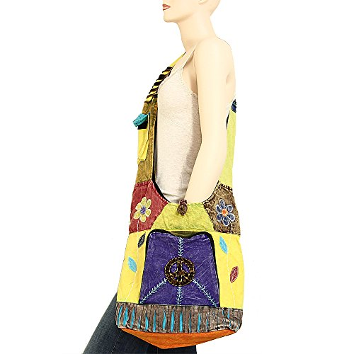 Hippie Variety Crossbody 2066 Sling Cotton Handmade Patterns Bag Sign Shoulder Bohemian Peace Rw0dSqOx0