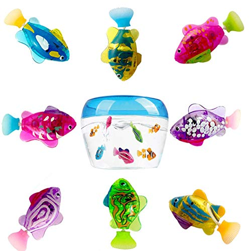 Aquarius CiCi 8 Pcs Electric Swimming Robot Fish Toy Animal Pets Interactive Swimming Robot Fish Kids Bathing Water Toys with LED Light (Best Pet Fish For Kids)