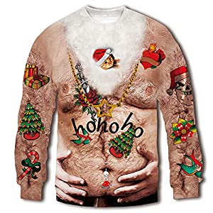 RAISEVERN Unisex Ugly Christmas Sweatshirt 3D Funny Design Printed Casual Novelty Xmas Pullover Sweater Shirt