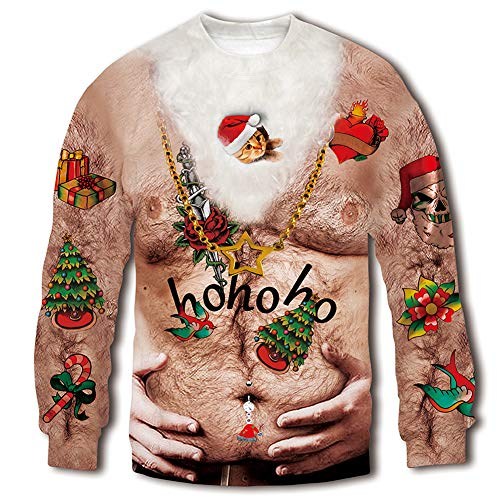 RAISEVERN Unisex 3D Fake Belly Digital Printed Ugly Sweater Funny Humorous Graphic Christmas Sweatshirt Pullover Shirt