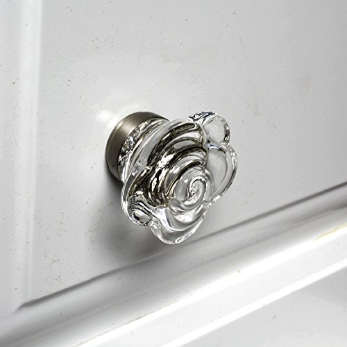 Glass Interior Door Knobs, Cabinet Door Handles or Vintage Drawer Pulls T25FR 10-Pack Clear Glass Wild Rose with Brushed Nickel Hardware. Romantic Decor & More (Armoire Or Wardrobe Difference)