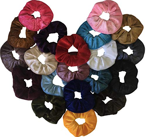 (Velvet Hair Scrunchies by Shop Fuzzy Love - Beauty Styling Band Accessories with Assorted Cute Fabric and Wide Elastic Ties for Thick Ponytail - 20 Color Pack - Ouchless, Large and Washable Holder Set)