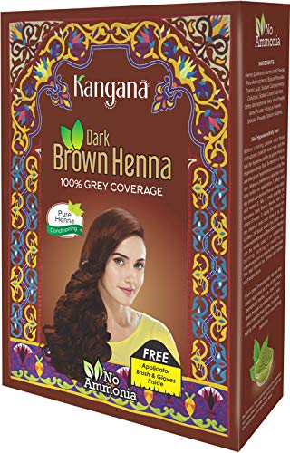 - Kangana Henna Powder for Hair Dye/Colour - Dark Brown Henna Powder for 100% Grey Coverage - 6 Pouches Inside- Total 60g (2.11 Oz)