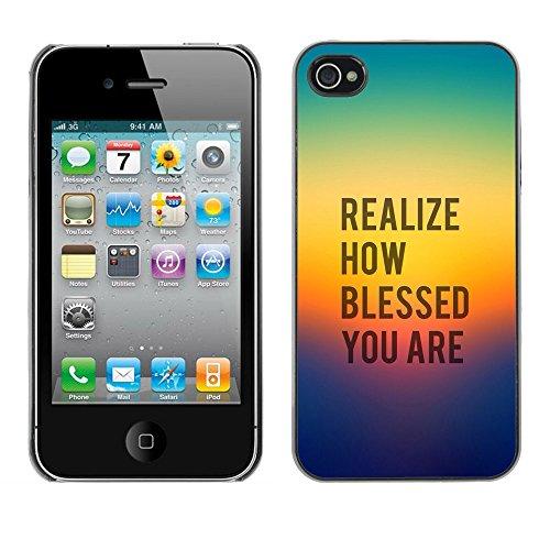 DREAMCASE Citation de Bible Coque de Protection Image Rigide Etui solide Housse T¨¦l¨¦phone Case Pour APPLE IPHONE 4 / 4S - REALIZE HOW BLESSED YOU ARE