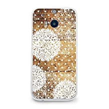 Hard Plastic Case for HTC One M8, CasesByLorraine Wood Print Floral Pattern Polka Dots PC Case Plastic Cover for HTC One M8 2014 (G13)