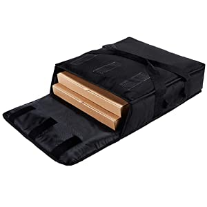 "YOPRAL Insulated Food Delivery Bag Pizza Delivery Bags Professional Pizza Warmer Carrier Bags Moisture Free for 2-16"" or 2-18"" (Black, 20""X20""X6"")."