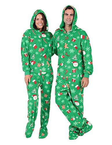 Footed Pajamas - Tis The Season Adult Hoodie Drop Seat Fleece-Medium (Drop Seat)