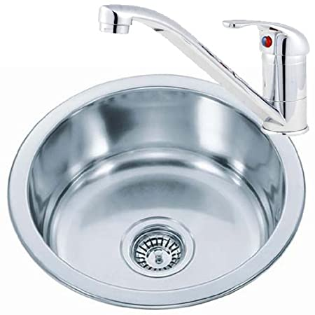 Small Round Bowl Stainless Steel Inset Kitchen Sink & A Mixer Tap ...