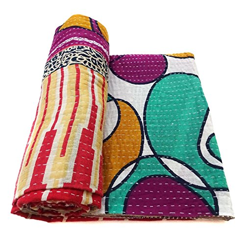 Vintage Kantha Quilt Handmade Indian Cotton Bedspread Blanket Bedding Throw