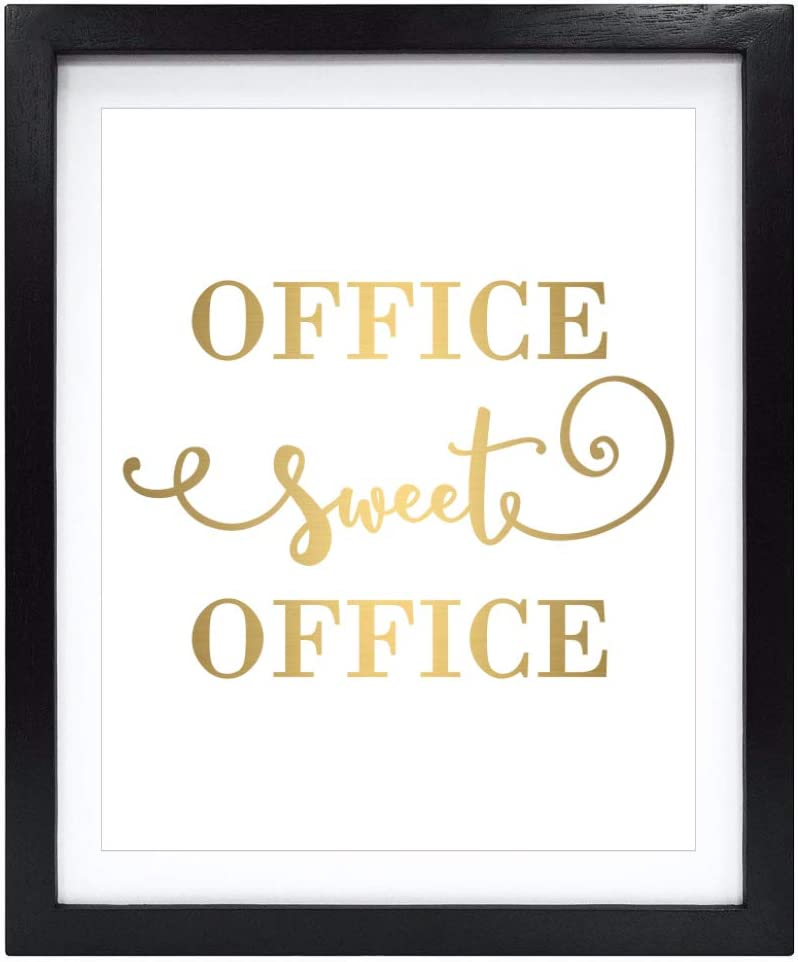 Susie Arts 8X10 Unframed Office Sweet Office Real Gold Foil Wall Art Print Poster Work Inspirational Motivational Quote Gold Decor V169