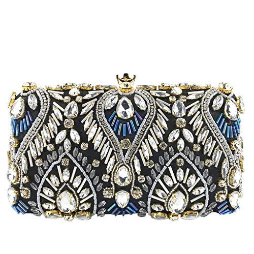 Bambus ♛ Clutches Bag for Women - Satin Leather Crystal Beaded Clutch Evening Chain Crossbody Bags Party Handbag