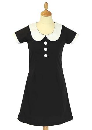 New Domino Madcap Angleterre Rétro Mod 60 S Peter pan Collar Dress Black mc184