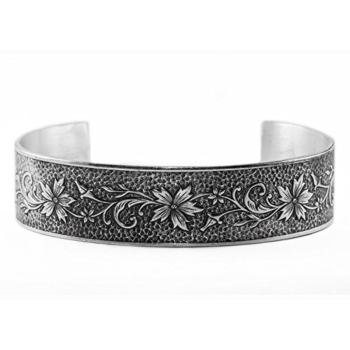 Edwardian-Style Flower, Buds, Vine Cuff Bangle Bracelet in Sterling Silver by Apples of Gold