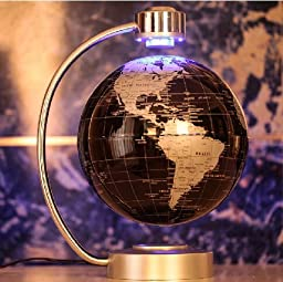 E-Plaza 8-inch Innovative Retro Magnetic Levitating Floating Globe for Home Office Decoration (Black)