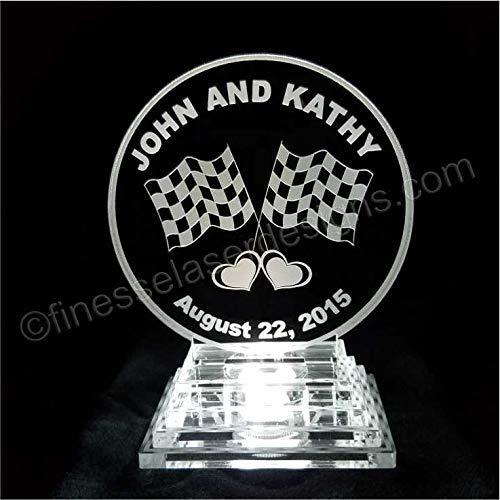 Racing Flag Lighted Wedding Cake Topper Acrylic Laser Engraved LED