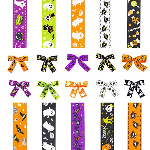 Diy Halloween Hair Bows (D-buy 20 Yards 1 Inch Wide Halloween Ribbon, 10 Styles Halloween Grosgrain Ribbons for Crafts, DIY Halloween Crafts for Halloween Decoration Gift Wrapping Hair Bow Ribbon Wreath Garland)
