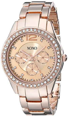 XOXO Womens XO5477 Rose Gold Bracelet With Rhinestones Accent Bezel Watch