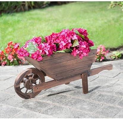 Carretilla decorativa para jardín (madera): Amazon.es: Hogar