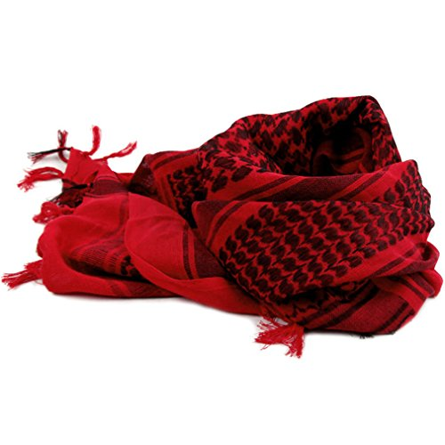 FUNOC 100% Cotton Rugged Military Tactical Scarf Shemagh Turban Wrap 43''x43'' (Red) by FUNOC