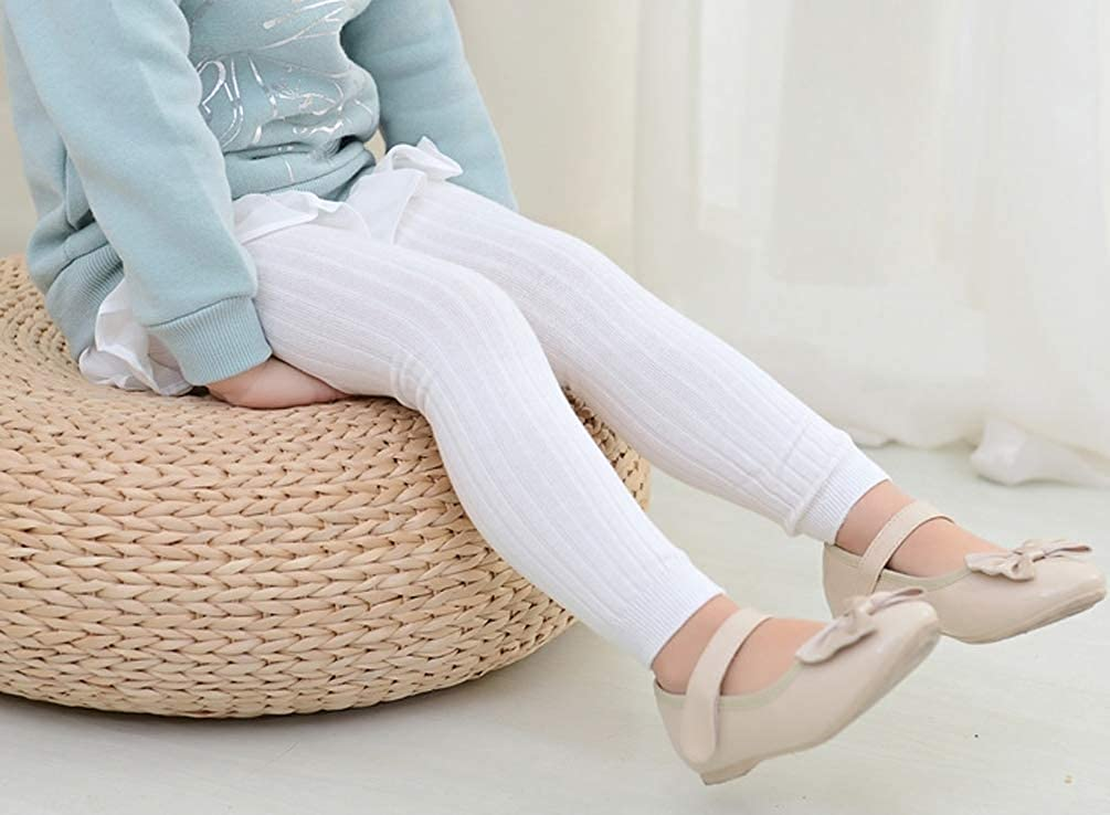 EachEver Toddler Baby Girls Basic Ribbed Leggings Footless Knitted Tights Dress Bottom Pants