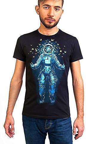 Space Inside Me Men's T-shirt Glow under UV-Blacklight Psy Goa Festival Neon Tee (Large) - Goa Light